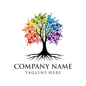 Lebendiges baum-logo regenbogen-baum-logo-design