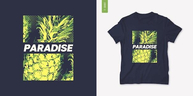 Lebendiges grafisches t-stück-design mit ananas