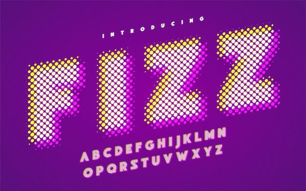 Lebendiges super-halbton-stilisiertes englisches alphabet in großbuchstaben.