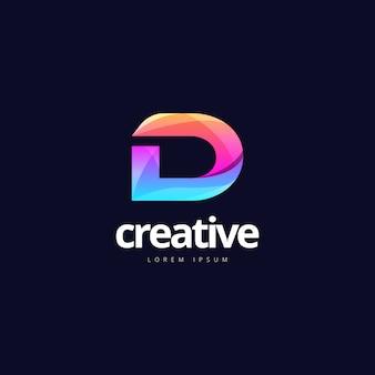 Lebendiges trendiges buntes kreatives buchstaben-d-logo