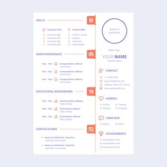 Lebenslauf lebenslauf design-vorlage mit linien-symbolen enthalten
