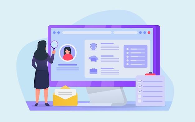 Lebenslaufanalyse für die einstellung von mitarbeitern in online-bewerbungen auf dem computerbildschirm