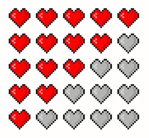 Lebensleiste für pixelspiele. vektorgrafik 8-bit-gesundheitsherzriegel. gaming controller, symbole gesetzt.