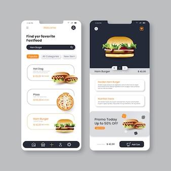 Lebensmittel app ui mobile vorlage