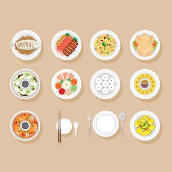 Lebensmittel auf geschirrset, chinesische und thailändische lebensmittel, traditionelles chinesisches festival