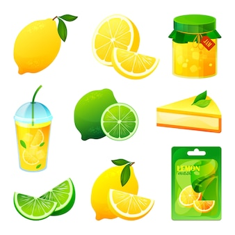 Lebensmittel aus zitronen und limettenfrüchten
