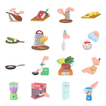 Lebensmittel, das gesetzte ikone der karikatur kocht. lokalisierte gesetzte ikonentechnologie der karikatur. essen kochen.