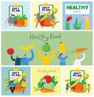 Lebensmittel, diät, gesunder lebensstil und gewichtsverlust banner mit einem gericht aus salat, tischset, smartphone und diätplan auf einem notizbuch