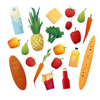 Lebensmittel eingestellt. supermarktprodukte.