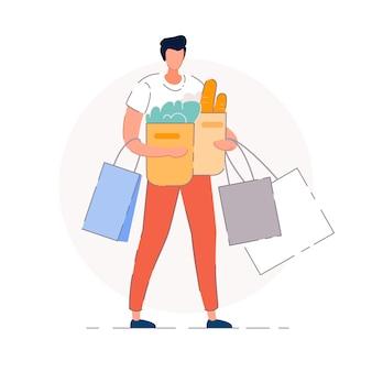 Lebensmittel einkaufen. käufer mann person zeichentrickfigur mit einkaufstüten mit lebensmitteleinkäufen. supermarktgeschäft shopper-konzept