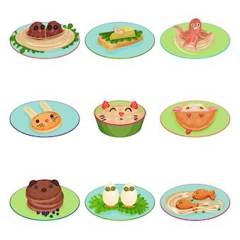 Lebensmittel für kinder in form von tieren und vögeln setzen illustrationen auf einen weißen hintergrund