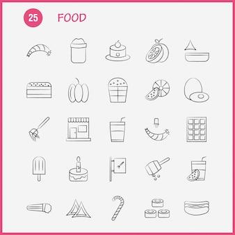 Lebensmittel handgezeichnete icons set