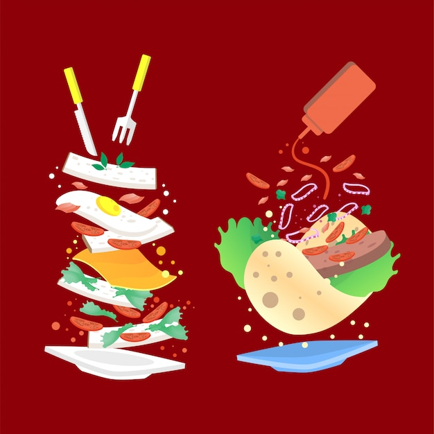 Lebensmittel illustration hintergrund