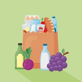 Lebensmittel in supermarkt-papiertüte