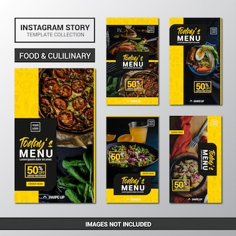 Lebensmittel instagram stories template collection