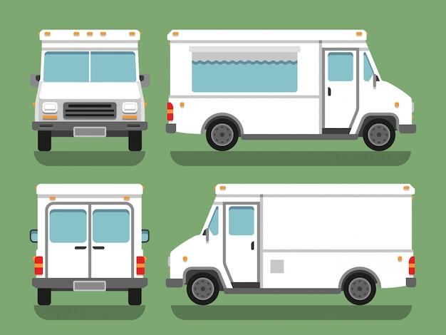 Lebensmittel-kasten-lkw-vektormodell der karikaturlieferung weißes leeres leeres