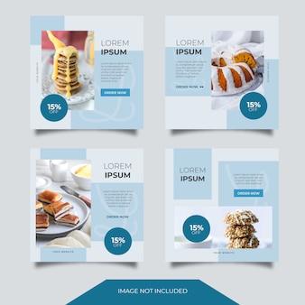 Lebensmittel kulinarik social media ads banner post template collection