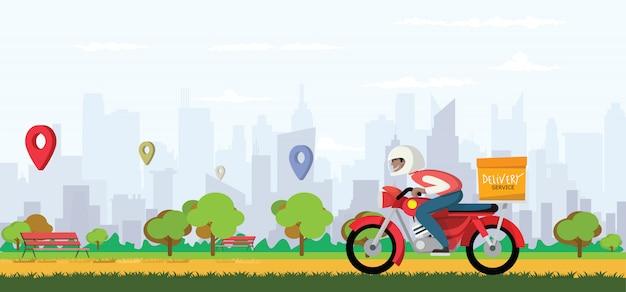 Lebensmittel-liefer-app auf einem smartphone, die einen lieferboten auf einem moped mit einer fertigmahlzeit verfolgt