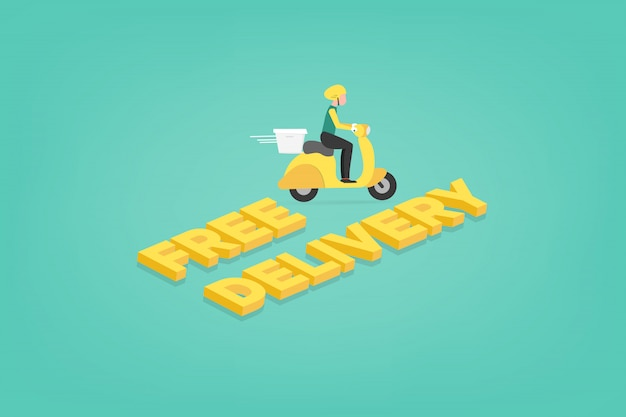 Lebensmittel-lieferservice e-commerce-konzept per rollerkurier. mobile anwendung, die einen lieferboten auf einem moped verfolgt.