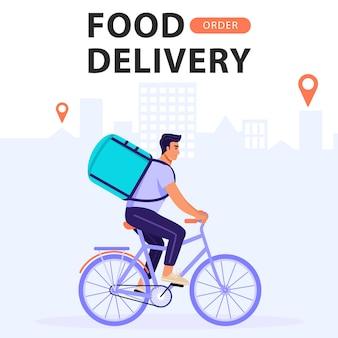 Lebensmittel-lieferservice. mannkurier, der fahrrad mit lieferungstasche reitet.