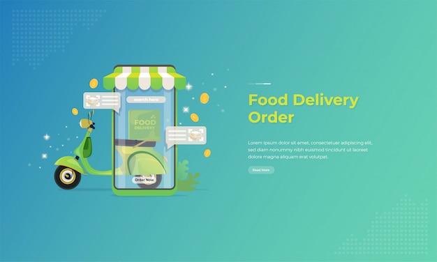 Lebensmittel-lieferservice mit mobilem anwendungskonzept