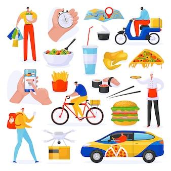 Lebensmittel-lieferservice-satz von auf weißen illustrationen, kurier mit fast-food-bestellversand-app für mobilgeräte, lieferung von pizza auf dem fahrrad. sammlung von hamburger-, getränke- und sushi-lebensmitteln.