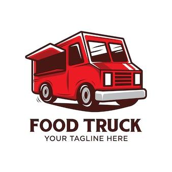 Lebensmittel-lkw-logo mit der roten lebensmittel-lkw-vektorillustration lokalisiert