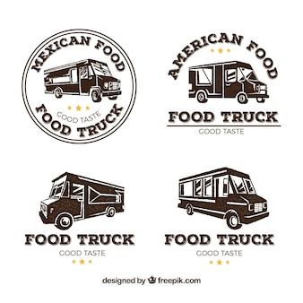 Lebensmittel-lkw-logos mit retro-stil