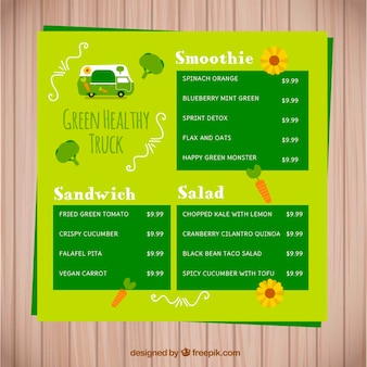 Lebensmittel-lkw-menü mit bio-lebensmittel
