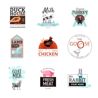 Lebensmittel-logo-set