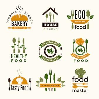 Lebensmittel-logos. gesunde küchenrestaurantgebäude, die hauslöffel- und -gabellebensmittelsymbole für projektplanung kochen