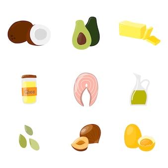Lebensmittel mit gesunden fetten und ölen stellte lokalisiert auf weiß ein. vektor-cartoon-stil-illustration