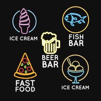 Lebensmittel neonlichter werbung