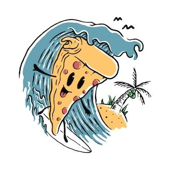 Lebensmittel-pizza-liebhaber-surfender sommer