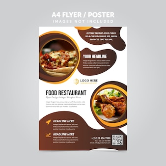Lebensmittel restaurant business mulripurpose a4 flyer prospekt vorlage