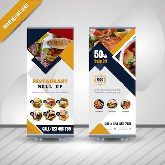 Lebensmittel rollen oben fahnen-design für restaurant