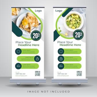 Lebensmittel rollen oben fahnen-design-schablone