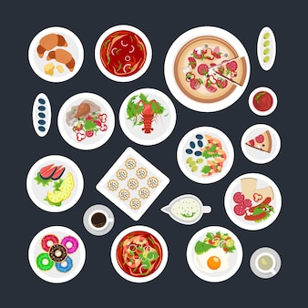 Lebensmittel set draufsicht