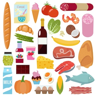 Lebensmittel-set. eben