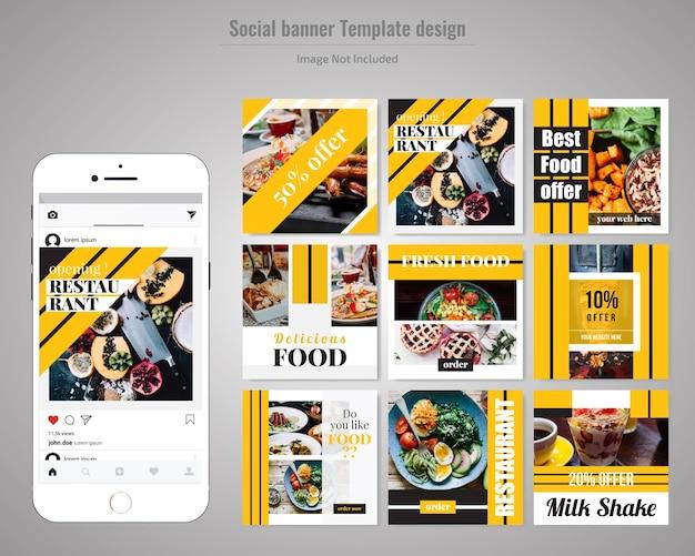Lebensmittel-social media post-vorlage für restaurant