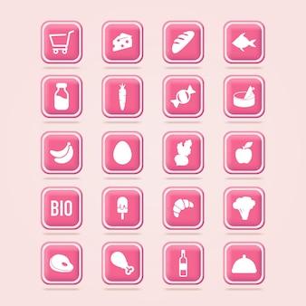 Lebensmittel-symbole einkaufswagen lebensmittelkorb lebensmittel online-shopping icons web-schaltfläche