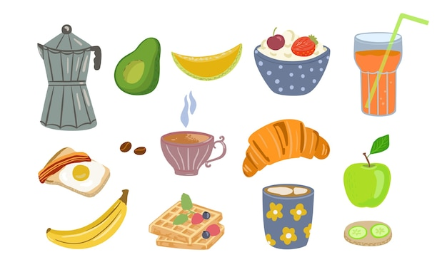 Lebensmittel- und getränkeikonen des gesunden frühstücks, das im karikaturstil lokalisiert gemacht wird