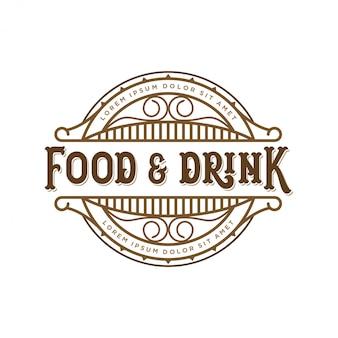 Lebensmittel- und getränkelogodesign für markenaufkleber