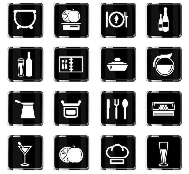 Lebensmittel- und küchenvektorsymbole für das design der benutzeroberfläche