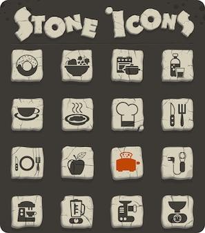 Lebensmittel- und küchenvektorsymbole für web- und benutzeroberflächendesign
