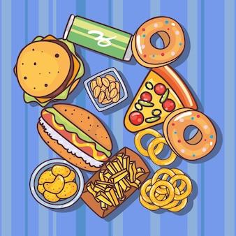 Lebensmittel- und mahlzeitensymbolbündel