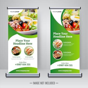 Lebensmittel und restaurant rollen oben fahnenentwurfsschablone