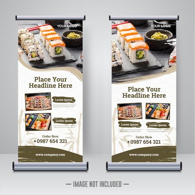 Lebensmittel und restaurant rollen oben fahnenschablone