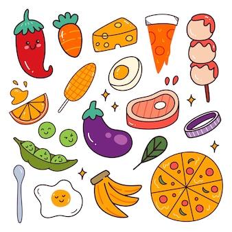 Lebensmittel und zutaten kawaii doodle set