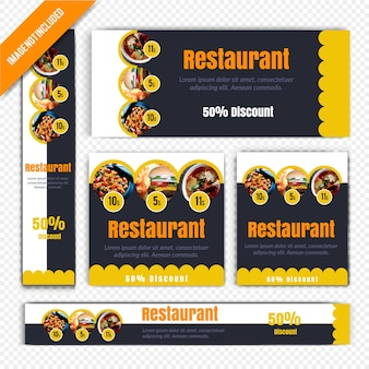 Lebensmittel-web-fahnen-satz für restaurant
